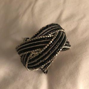 Express black/white beaded bracelet